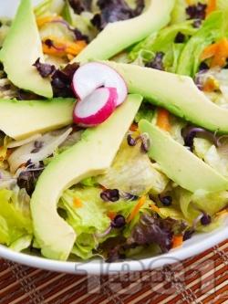 Пъстра салата с айсберг, Лоло Росо, моркови, кълнове и авокадо - снимка на рецептата
